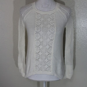 Ella Moss Ivory Embroidered Knit Hi-Lo Sweater